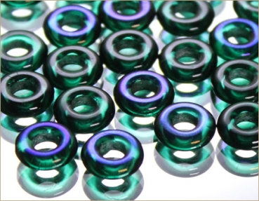 Glass rings 10 mm, EMERALD AZURO