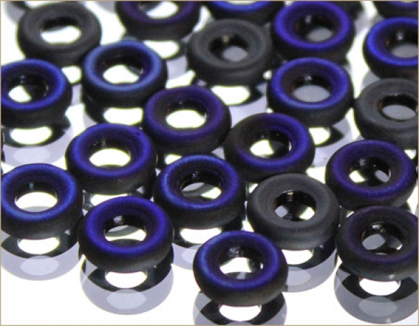 Glass rings 9 mm, JET AZURO MATTED